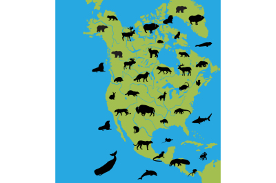 Animals on the map of North America