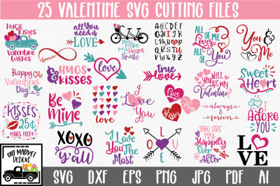 Valentines Day SVG Bundle with 25 Valentine SVG Cut Files-DXF-EPS