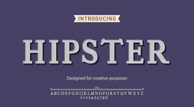 Hipster vector typeface.For labels and different type designs
