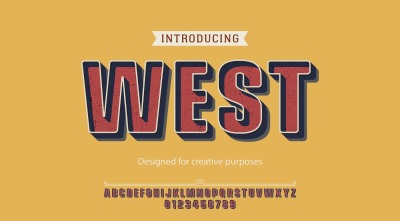 West vector typeface. For labels and creative designs