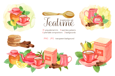 Watercolor Teatime Clipart (Collection)