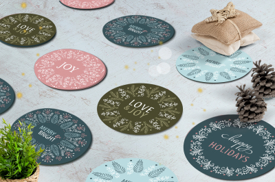 Christmas Gift Round Stickers