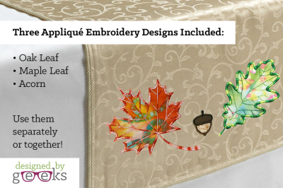 Fall Leaves and Acorn Set | Applique Embroidery
