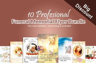 10 Funeral Memorial Flyers Bundle