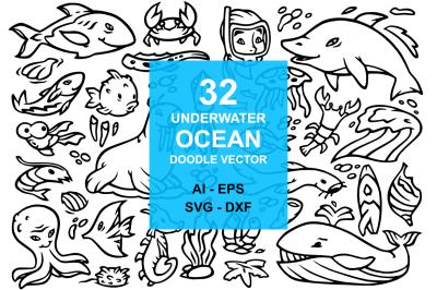 32 Underwater Ocean Doodles