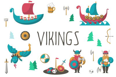 Vikings cartoon set and patterns