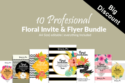 10 Floral Invitation Cards Bundle