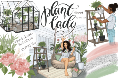 Plant Lady Clipart Graphic Design Kit