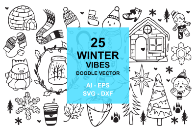25 Winter Holiday Doodles