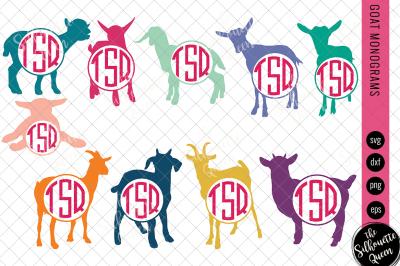 Goat Svg, Monogram Svg, Circle Frames, Cuttable Design, Cut files, Sil