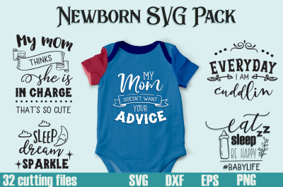 Newborn SVG Pack - 32 Cut Files for Baby Onesies - Limited Promotion