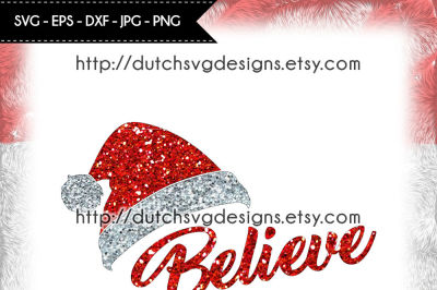 Cutting file Believe with Santa hat, christmas svg, believe svg