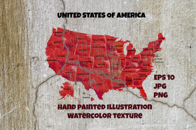 Watercolor United States of America.