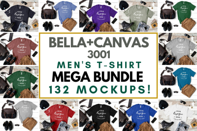 Men's Bella Canvas 3001 T-Shirt Mockup Mega Bundle, Masculine