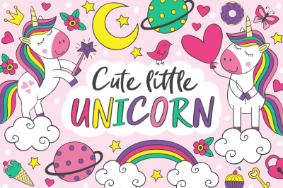 set of cute little unicorn