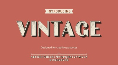 Vintage vector typeface.For labels and different type designs