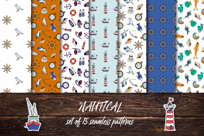 Nautical. Set of seamless patterns