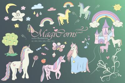 Unicorn Cliparts, Illustrations, Unicorns Vector Clip Art, Graphic SVG