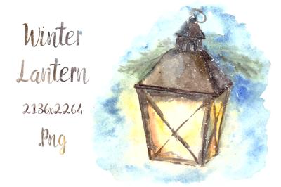 Watercolor Winter Lantern Clip Art & Card