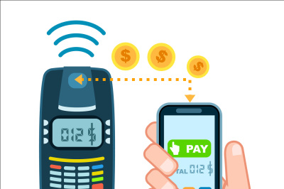 Mobile payment concept with POS terminal isolated vector illustration.