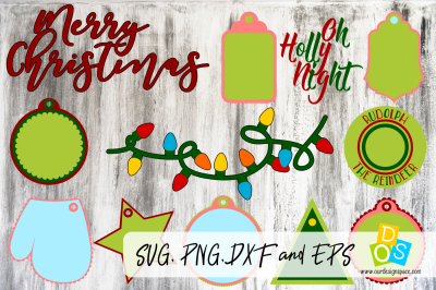 Christmas Wish & Tags SVG, PNG, DXF and EPS