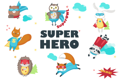Superhero animals & pattern