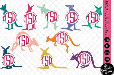 Kangaroo Svg, Monogram Svg, Circle Frames, Cuttable Design, Cut files,