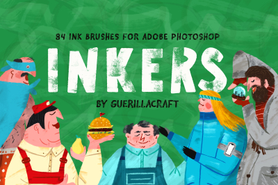 Inkers By Guerillacraft - 84 Ink Brushes for Adobe Photoshop
