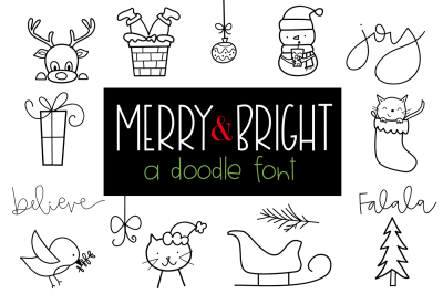Merry and Bright - A Christmas / Winter Doodles Font