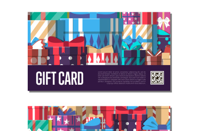 Gift card template set with gift box vector illustration.