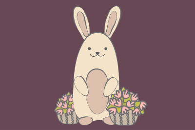 Rabbit and flowers basket EPS