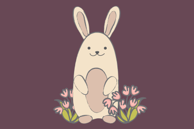 Rabbit and flowers EPS