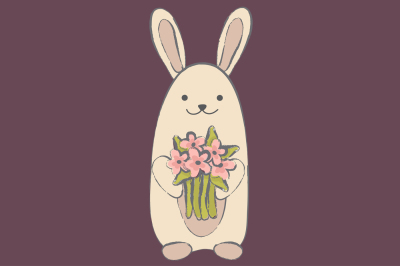 Rabbit with flowers EPS