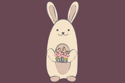 Rabbit with basket EPS