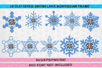 Monogram Frame Svg Bundle - Snowfall Christmas Winter