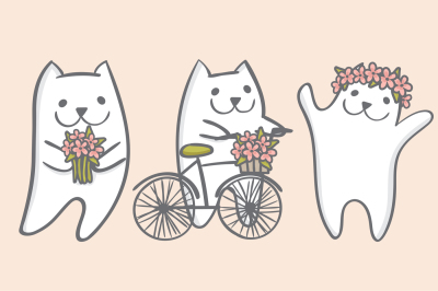 White spring cats with flowers EPS