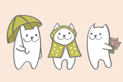 White cats rainy spring EPS