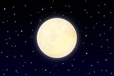 vector full moon on starry sky