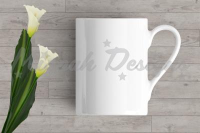 White Blank Mug Mock up Coffee Mug Cup Calla Lilly Flower Mock up Mug