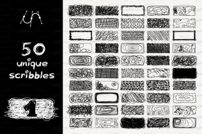 vector SET 100 SCRIBBLES Part 1,2 - rectangle