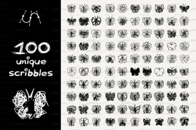 vector SET 100 SCRIBBLES Part 1 - butterfly