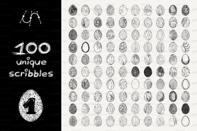vector SET 100 SCRIBBLES Part 1 - egg