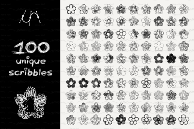 vector SET 100 SCRIBBLES Part 1 - flower