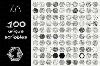 vector SET 100 SCRIBBLES Part 1 - hexagon