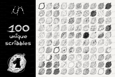 vector SET 100 SCRIBBLES Part 1 - leaf