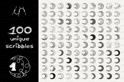 vector SET 100 SCRIBBLES Part 1 - crescent