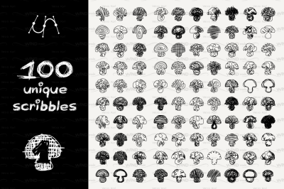 vector SET 100 SCRIBBLES Part 1 - mushroom