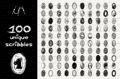 vector SET 100 SCRIBBLES Part 1 - oval