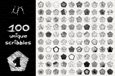 vector SET 100 SCRIBBLES Part 1 - pentagon