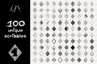 vector SET 100 SCRIBBLES Part 1 - rhomb